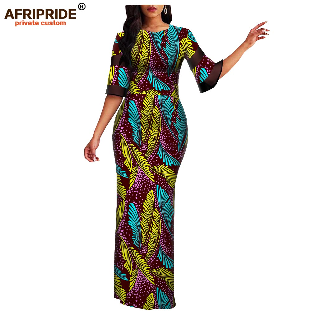 Women`s African Print Half Sleeve Dashiki Maxi Bodycon Dress Dashiki Ankara Party Dresses For Women Wax Batik AFRIPRIDE A1925049