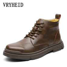 VRYHEID New Genuine Leather Boots Men Autumn Winter Vintage Motorcycle Boots Male Snow Ankle High Top Men's Boots Big Size 38-48 genuine leather boots women 2016 new arrival women ankle boots fashion spring autumn womens boots big size 34 41 free shipping