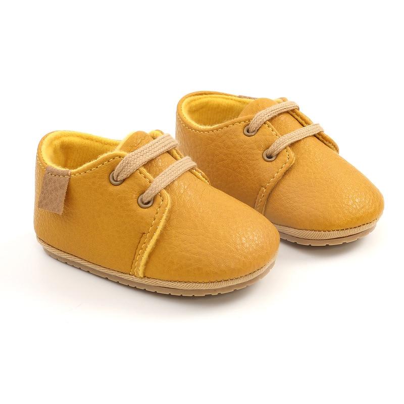 Кожаные Мокасины для новорожденных, Нескользящие, разноцветная обувь в стиле ретро для начинающих ходить мальчиков и девочек, резиновая подошва 3