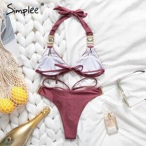 Image 3 - Simplee Gem bikinis 2019 mujer Sexy halter swimwear women bathing suit biquini Summer beach wear new Push up swimsuit female