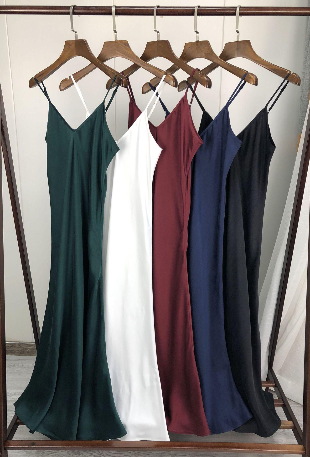 Heavy Silk Suspender dress 2019 Early Spring Style Oblique Cut Silk Heavy Sand Washing Process Women midi Dress