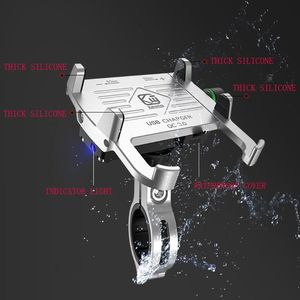 Image 2 - Metal Motorcycle Waterproof Cell Phone Holder Motorbike Handlebar Mirror Phone Stand with QC 3.0 USB Charger Socket Mount
