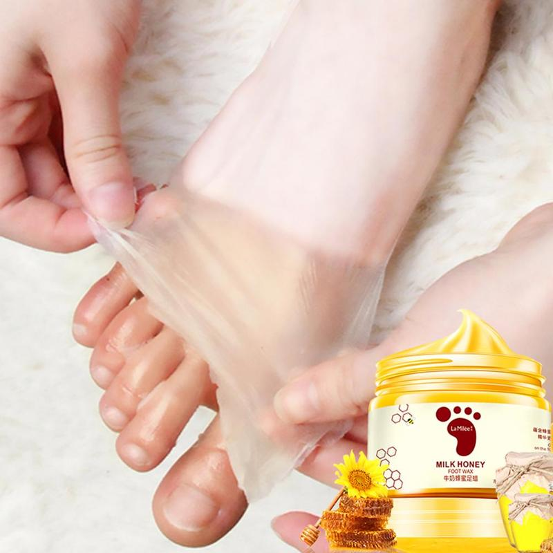 Honey Milk Foot Wax Feet Mask Moisturizing Hydrating Nourishing Whitening Skin Care Peel Off Dead Skin Exfoliating Anti-dry Mask 3