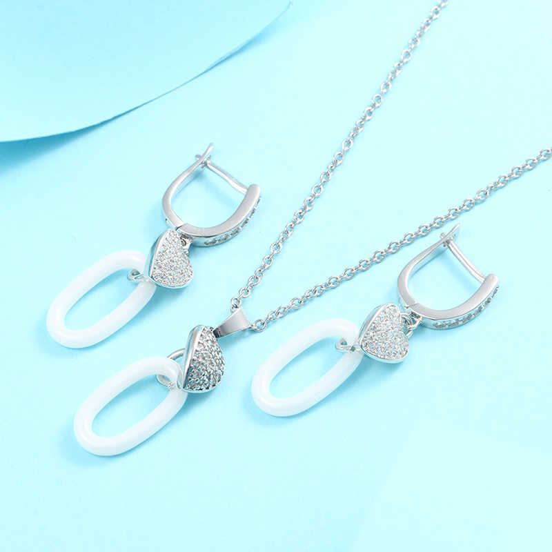 Geomitric Schmuck Sets Für Frauen Zubehör Herz Cubic Zirkon Kristall Halskette Stud Ohrringe Set Jahrestag Geschenk