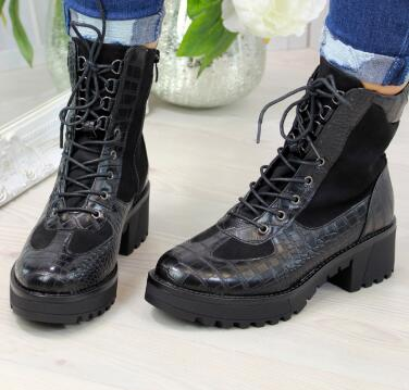 women autumn ankle boots chaussure girls mid heels PU leather plus size lace up gladiator shoes woman zapatos mujer sapato D1477