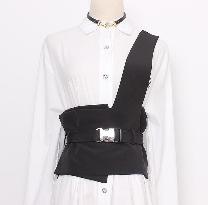 Women's Runway Fashion One Shoulder Black Fabric Cummerbunds Female Dress Corsets Waistband Belts Decoration Wide Belt R2613