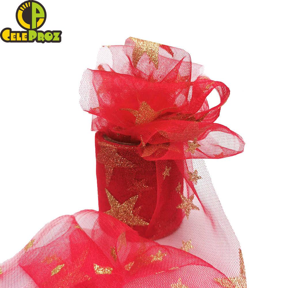 10 หลา 8/10/12 เซนติเมตร Glitter ดาวผ้าลินิน Confetti Glitter Ulle ตาข่ายม้วนตู Pom DIY งานแต่งงานวันเกิดเบเกอรี่กล่องของขวัญตกแต่ง