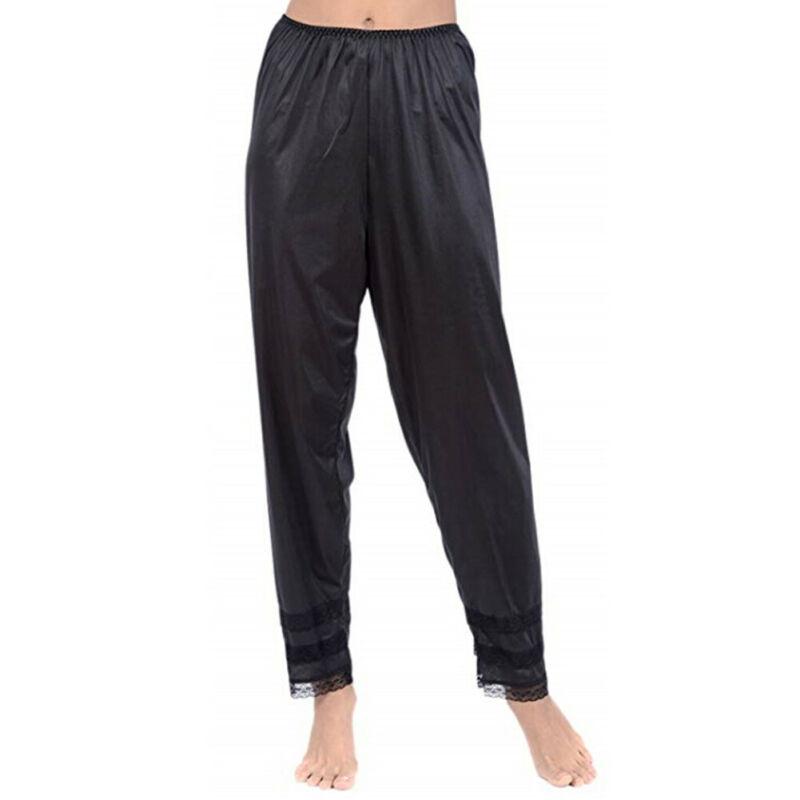 Hirigin Womens Pajama Pants Wide Leg Casual Lounge Bottoms Satin Lace Patchwork Sleepwear Trousers