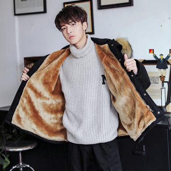 Men's winter casual street jacket coat trend warm coat new men's printing padded cotton clothes winter windbreaker jacket