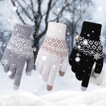 Damski kaszmirowy dzianinowy rękawiczki żakardowe rękawiczki do ekranu dotykowego ciepłe rękawiczki narciarskie rękawiczki pluszowe rękawiczki dla kobiet prezent tanie i dobre opinie Dla dorosłych CN (pochodzenie) Unisex COTTON Stałe Nadgarstek Moda ---- support wholesale