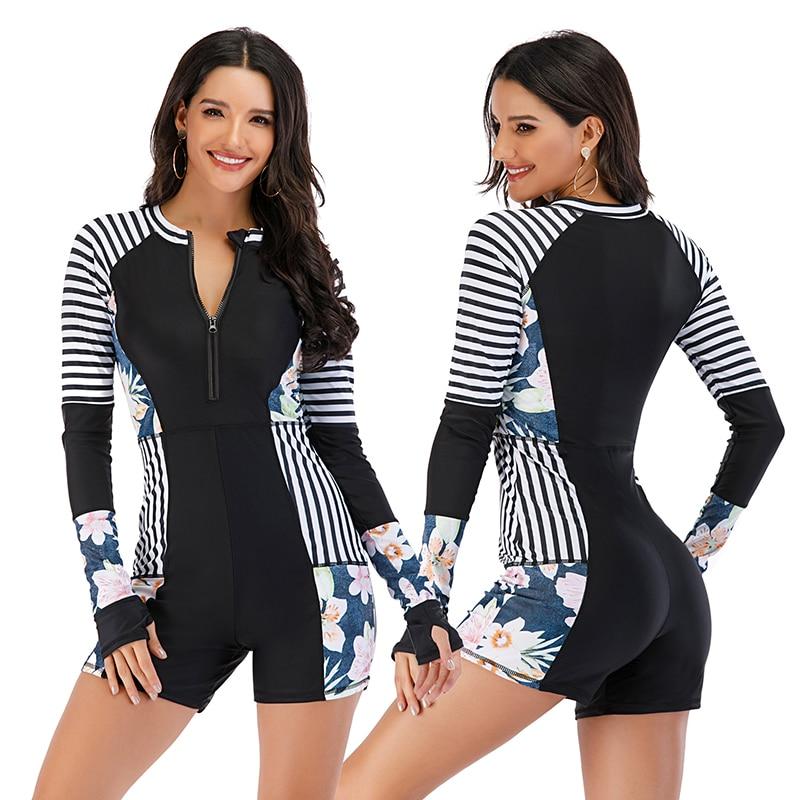 Mesh Front Long Sleeve Swimwear Sport Surfing Swimming Suit 24