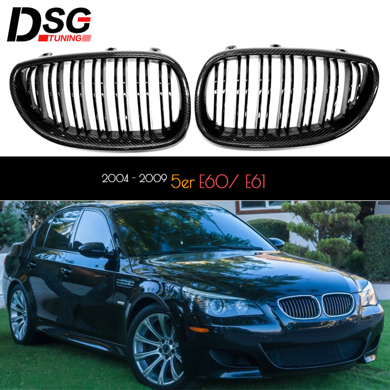 Carbon Fiber Trimming Replacement Front Kidney Bumper Grille Glossy Black Grill for BMW <font><b>5</b></font> Series E60 E61 (<font><b>2004</b></font> - 2009) image