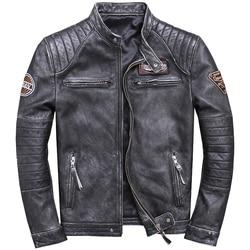 2019 männer Vintage Echtem Leder Jacken Städtischen Motorrad Jacken Braun Grau Stehkragen Slim fit Biker Mantel für Männliche
