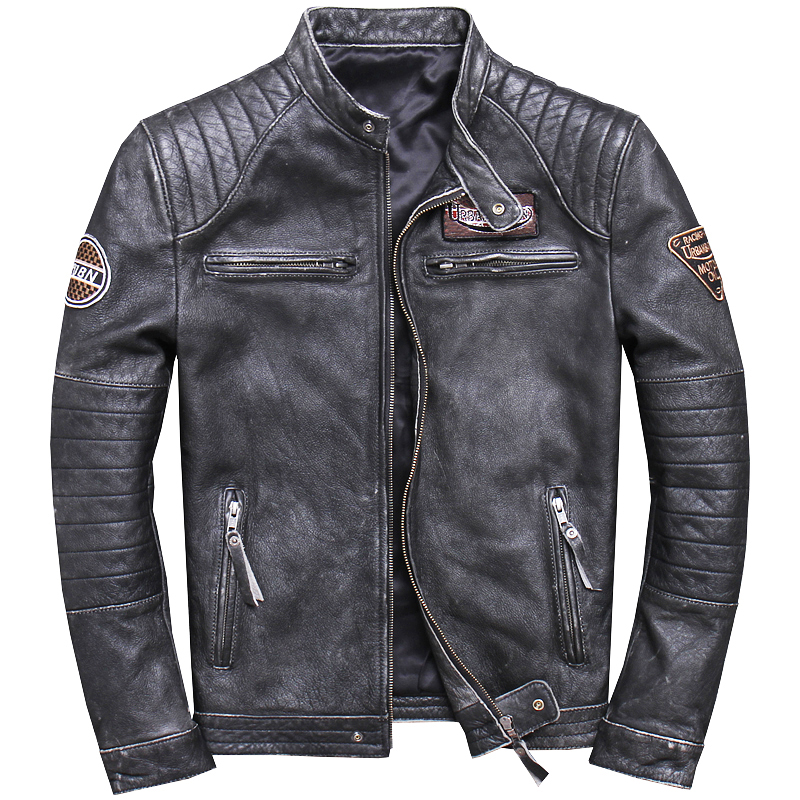 2020 Men's Genuine Leather Jackets Vintage Cowhide Motorcycle Leather Jackets Brown Black Leather Coat For Male