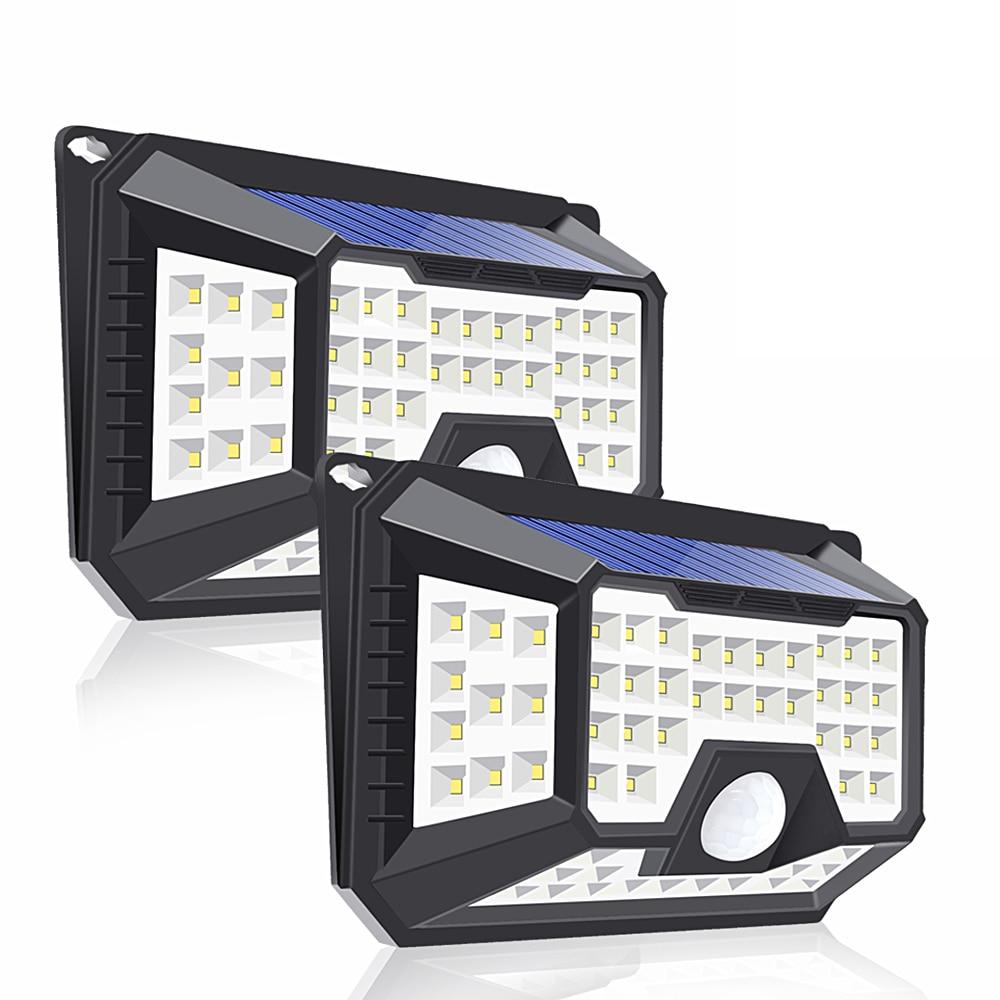 2 Pack 66 LED solaire alimenté capteur de mouvement lumière PIR extérieur étanche sécurité économie d'énergie lampe solaire jardin maison rue mur lampe solaire exterieur