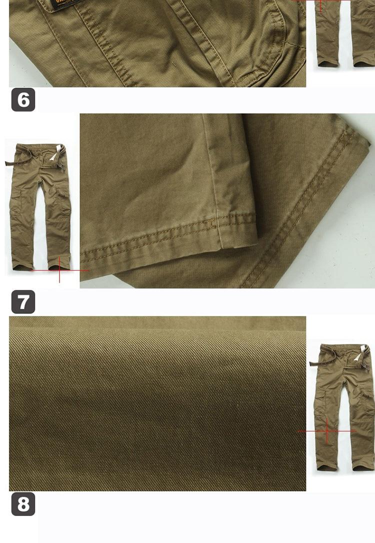 KSTUN New Men's Cargo Pants Casual Overalls 100% Cotton Straight Cut Male City Military Tactical Pants Men Loose Fit Trousers No Belt 25