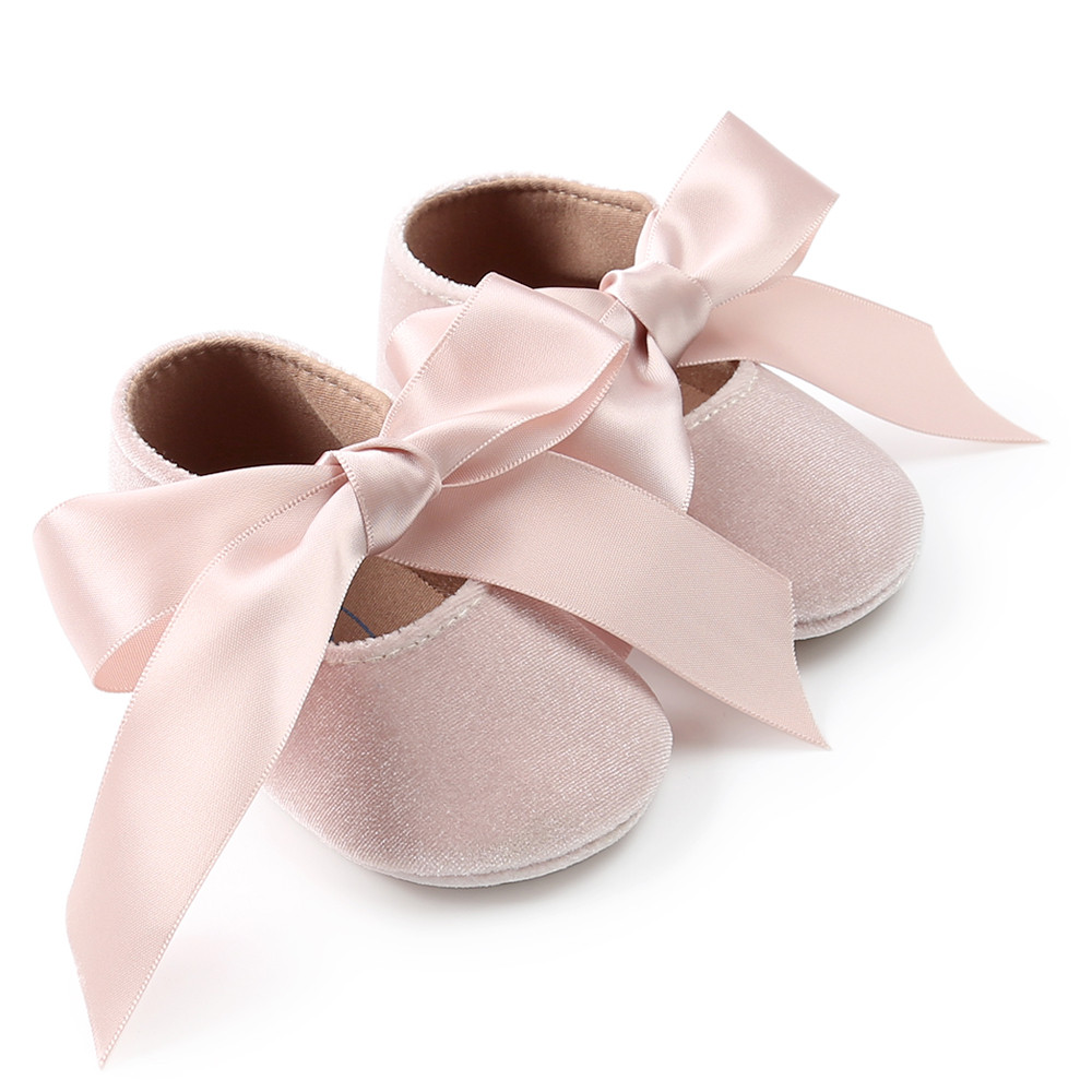 Fashion Toddler Baby Girl Princess Velvet Shoes Bowknot First Walkers Shoes
