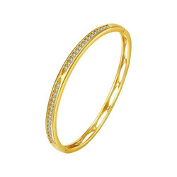 MxGxFam AAA+ Zircon Bangle For Women 18 cm Fashion Jewelry 24 K Yellow Gold Color No Skin Allergy Nickel Free