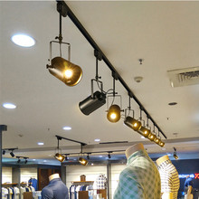 Lámpara de techo Vintage LED lámpara de techo de hierro negro ropa Industrial lámpara de pista Luz de punto de carril retro luminaria accesorio de cocina