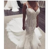 2019 Elegant Lace Mermaid Wedding Dresses Strap Sleeveless Lace Sweet Heart Classic Wedding Gowns Trumpet Bridal Dresses