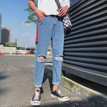 Autumn clothing boys raw edge jeans hole small feet pants Slim Korean men #8217 s nine points pants tide students light jeans men cheap Zipper Fly Solid Denim 8976555 Pencil Pants Medium Distressed Preppy Style Midweight Ankle-Length Pants Softener