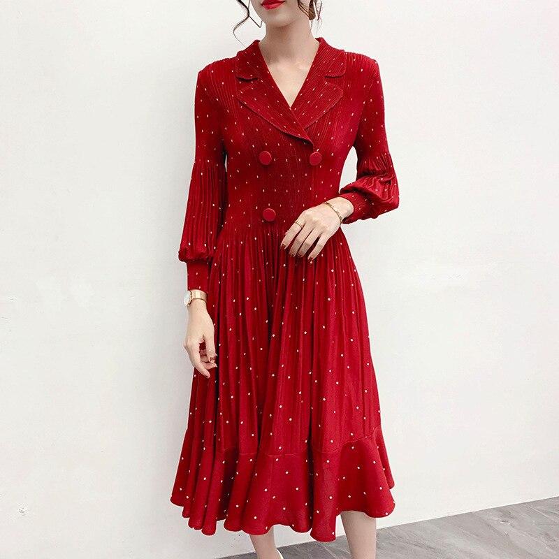 Mode Dot femmes vêtements 2020 printemps nouveau femmes en vrac robe Pluz taille à manches longues Style coréen dames robe plissée V676