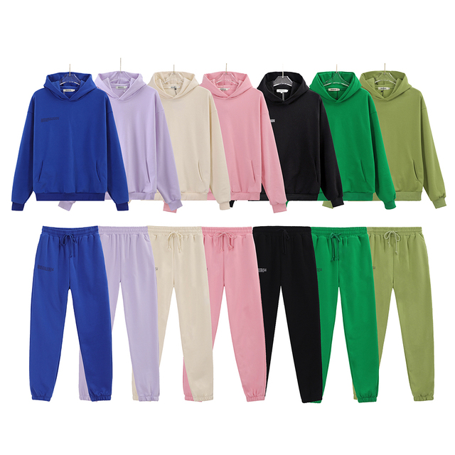 100% Cotton Solid Hoodies Sets Track Pants Women Hooded Sweatshirts Female Pullover Two Pieces Suits 4