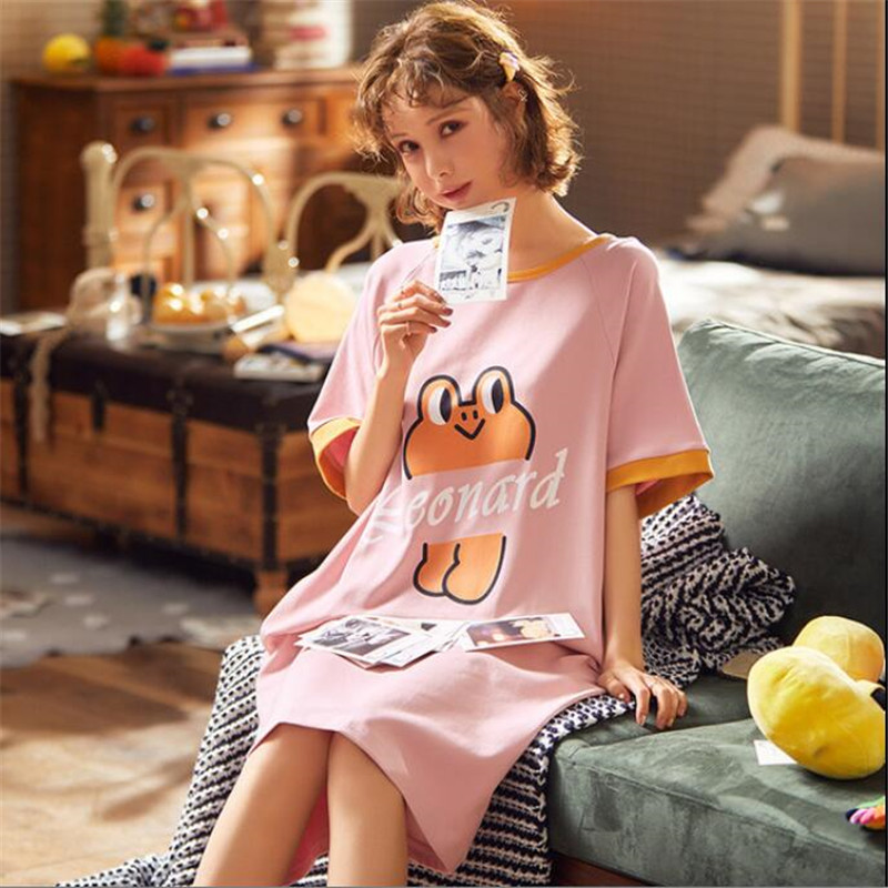 Summer with pocket Short Sleeve Long Shirt   Sleepshirt   Sleeping Dress Nightie Cartoon Printing Nightdress Casual Women's Pajamas