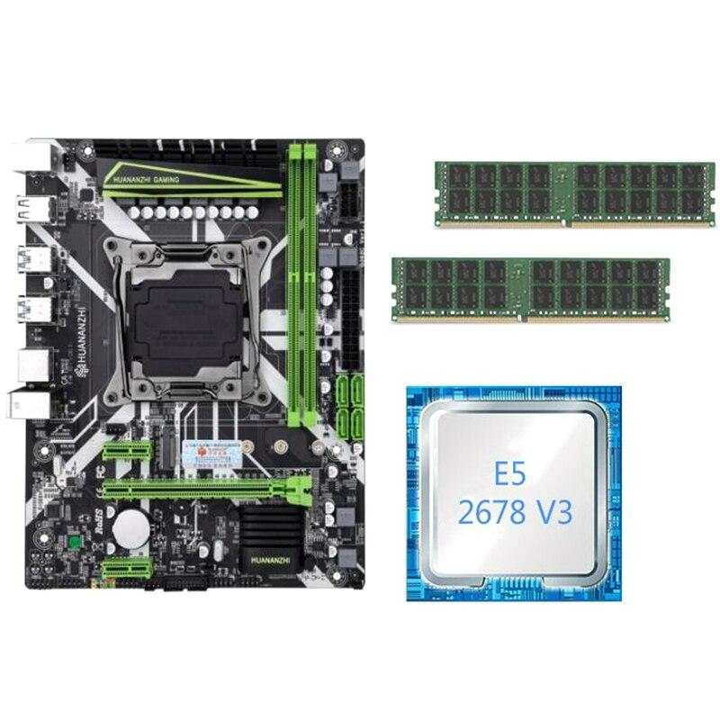 HUANANZHI X99 Motherboard Set With Xeon E5 2678 V3 2Pcs 16GB=32GB 2400MHz DDR4 ECC REG Memory