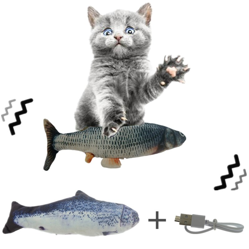 30CM Cat Toy Fish USB Electric Charging Simulation Dancing Jumping Moving Floppy Fish Cat Toy Electronic Fish For Cats Toys