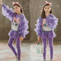 Toddler Girls Suits Spring Winter Kids Clothing Set 2020 2 Pcs Teenage School Girls Tracksuit Sweater + Knitted Skirts Leggings