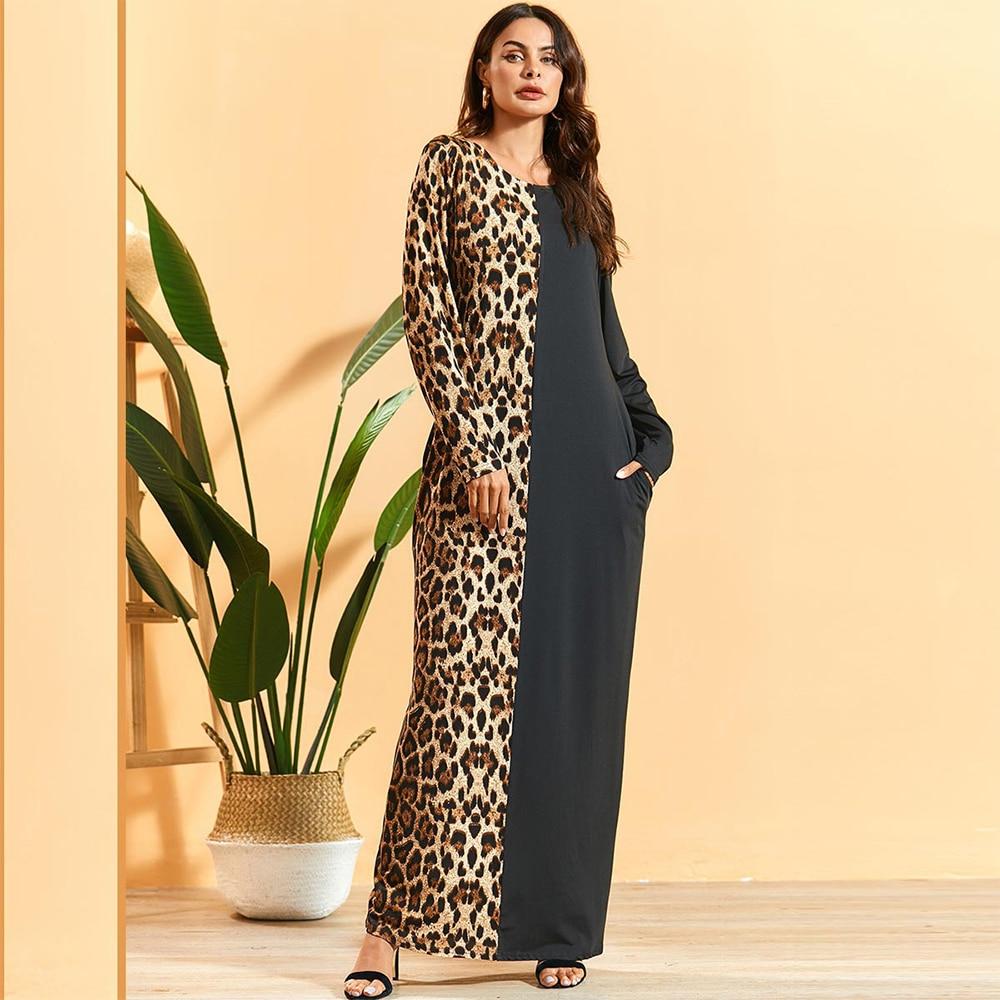 Siskakia Maxi Dress Fashion Leopard Patchwork Long Sleeve Pencil Dress Loose Casual Arabian Muslim Middle East Women Clothing