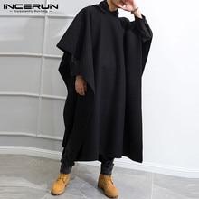 Men Cloak Poncho Coats Hooded-Cape Trench Streetwear Punk-Style INCERUN Long Winter Windproof