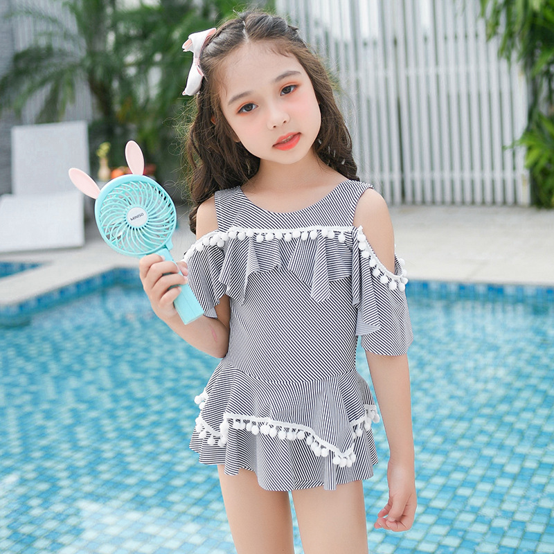Cute Off-Shoulder GIRL'S Child CHILDREN'S Swimsuit Stripes Dress-Stage Catwalks Bathing Suit Item New Style Small CHILDREN'S