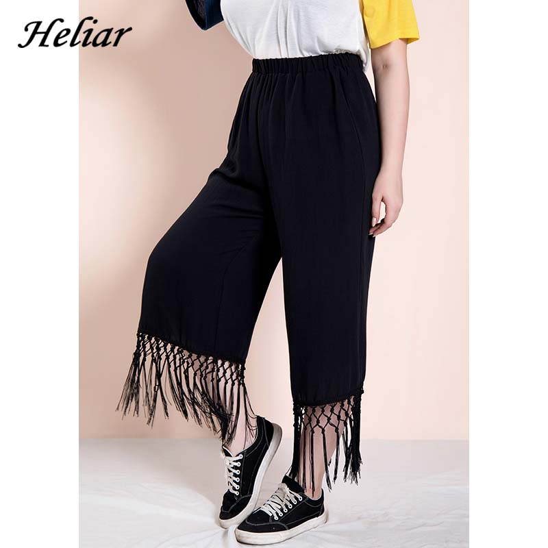 HELIAR 2019 Autumn Women Trousers With Tassels High Waist Elastic Solid Loose   Pants     Capris   Plus Size XL-5XL Trousers For Women