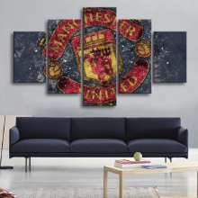 5 Pieces Abstract Manchester United Sports Wall Posters Football Flag Canvas Paintings Art Prints Pictures Boys Bedroom Decor