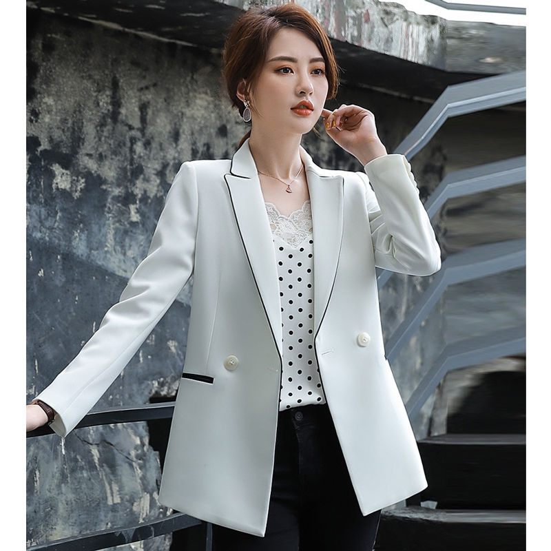 2019 New Autumn Temperament Women's Solid Color Blazer Casual Slim Lady White Office Suit Large Size High-quality Suit Female