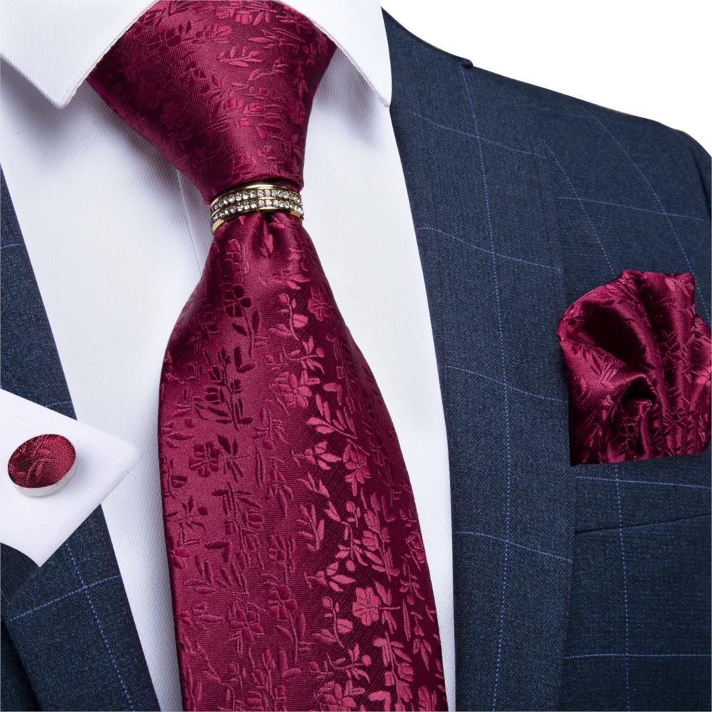 Men Tie Red Wine Solid Floral Wedding Tie For Men Necktie Ring Hanky Cufflinks Silk Tie Set DiBanGu Designer Business JZ03-7263