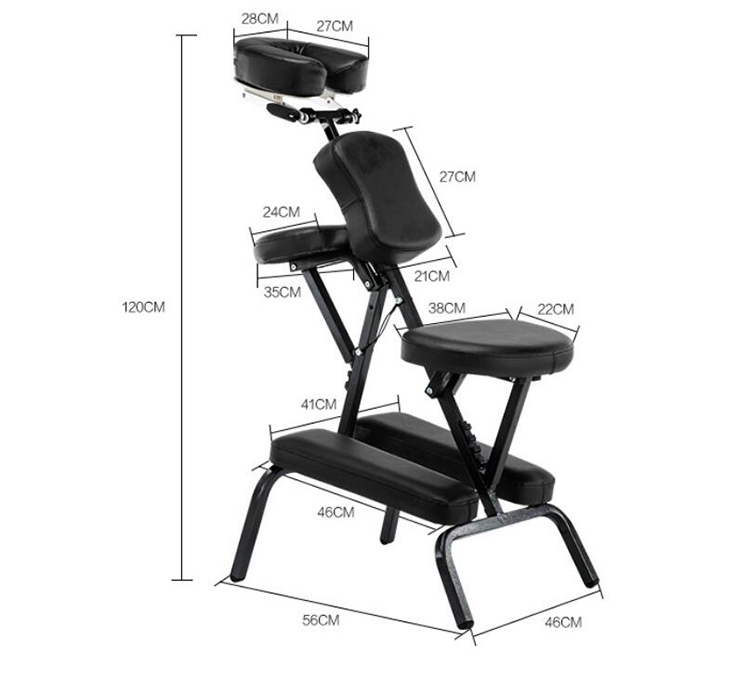 Купить с кэшбэком Portable Massage Chairs Folding Tattoo Chairs High-Density Sponge Height Adjustable Face Cradle Light Weight Travel Spa Seat