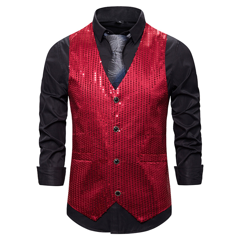 Mens Suit Vest Shiny Red Sequins Tuxedo Dress Waistcoat Men Nightclub Party Prom Casual Vests Stage Singers Gilet Costume Homme