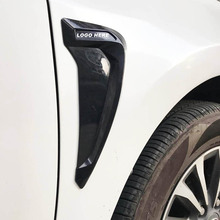 цена на 2PCS car side wheel fender sticker ABS flexible Carbon Fiber /black Side Marker Fender car sticker