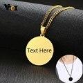 Vnox Personalisierte Einfache Runde Anhänger für Männer Frauen Glänzenden Klar Edelstahl Halskette Benutzerdefinierte Einzigartige Schmuck mit 24