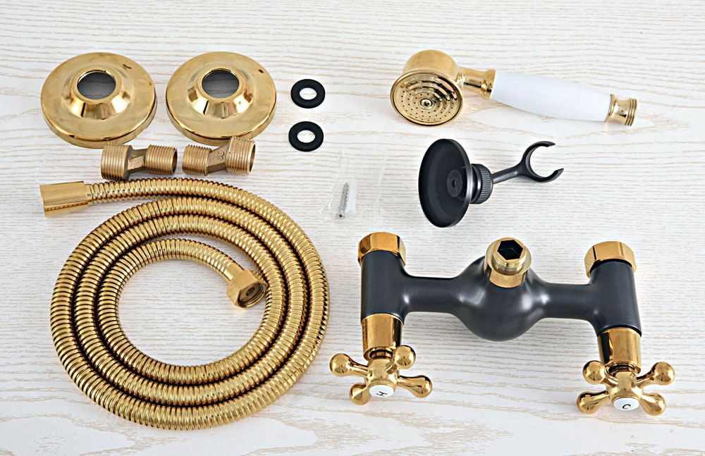 Luksusowe złoty kolor mosiądz czarny olej wcierane brąz ścienny łazienka słuchawka prysznicowa kran zestaw wanna Mixer Tap mna520