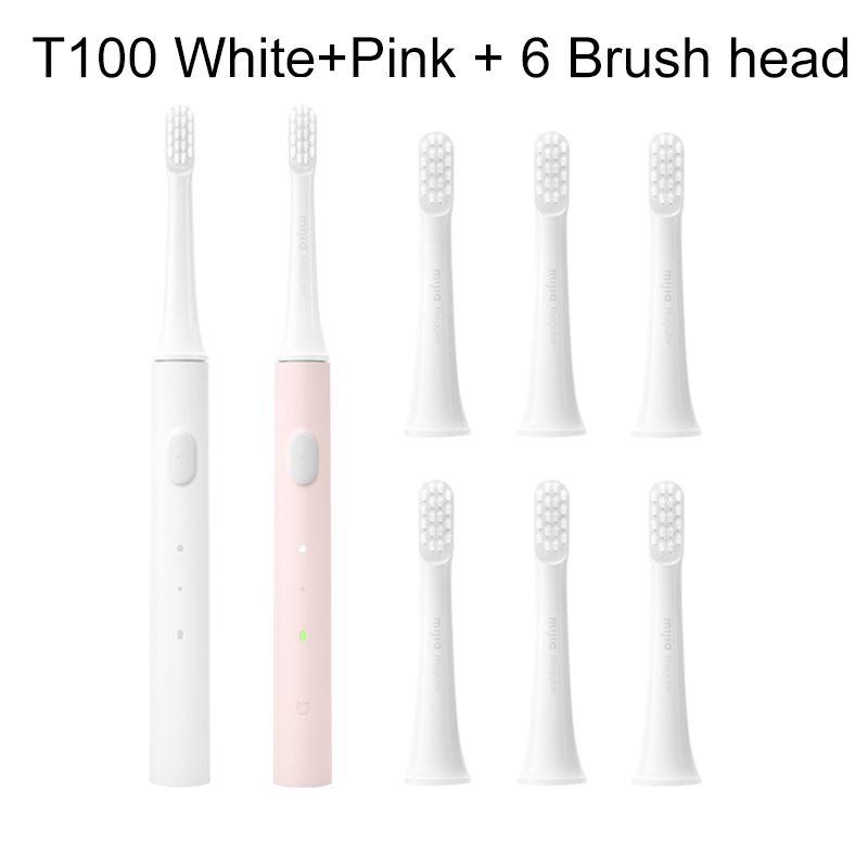 White Pink Add 6head-XIAOMI MIJIA Sonic Electric USB Waterproof Rechargeable Toothbrush