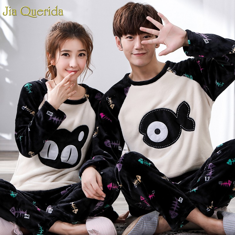New Fashion Matching Couple Soft Warm Teddy Leisure Home Suit Cute Cat And Fish Print Flannel Winter Men And Women Pyjamas Sets