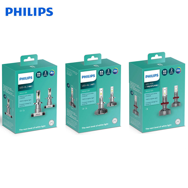 Philips Original Ultinon LED H4 H7 H8 H11 H16 9003 HB2 12V 6000K Bright Car LED Head Light Auto Fog Lamps +160% More Bright, 2X