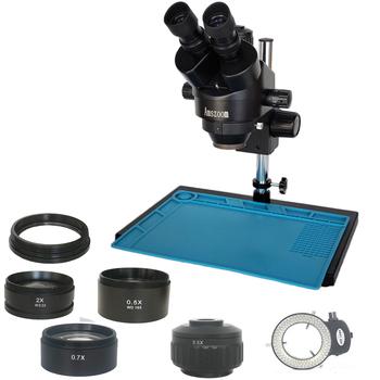 Wysokiej jakości 3 5X-90X simull Focal Trinocular Stereo Zoom 35mm port aparat obiektyw mikroskopu narzędzia do naprawy telefonów komórkowych tanie i dobre opinie AMSZOOM 500X i Pod 10809 Metal PORTABLE Wysokiej Rozdzielczości Ręczny Cyfrowy Mikroskop stereoskopowy Black white 7X-45X