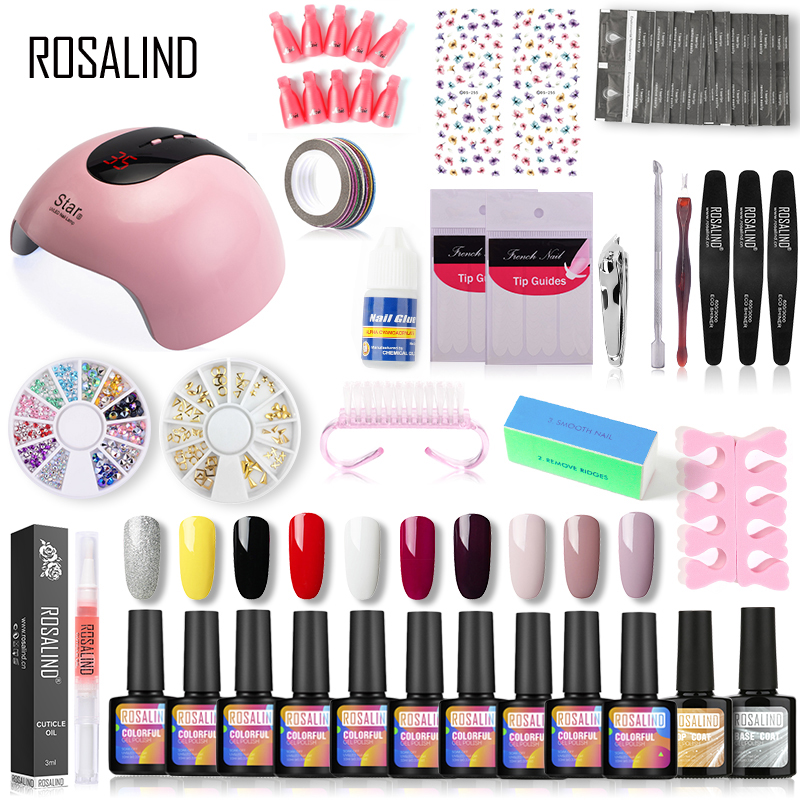 ROSALIND 10ml Manicure Gel Nail Polish Set UV LED Lamp Gel Hybrid Varnish For Semi Permanent Nail Art Tools Kit Base Top Primer