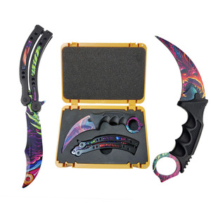 Image 3 - Swayboo Csgo Game Knives Set Karambit+Trainer Knife+Nylon bag+Screwdriver+Box Dull No Edge Blade Plastic Weapon Case Container