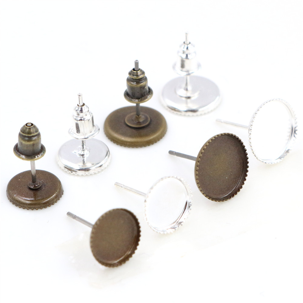 8mm And 10mm 12mm Silver Plated Bronze Plated Earring Studs,Earrings Base,Fit 8mm And 10mm 12mm Glass Cabochons,earring Setting